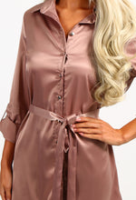 Drunk In Love Mink Satin Shirt Dress