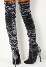 Vonda Grey Crushed Velvet Over The Knee Heeled Boots