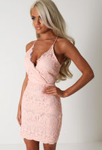 Keely Peach Lace Racer Back Dress