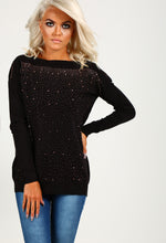 Carlene Black And Rose Gold Diamante Jumper