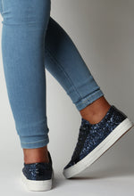 Haley Navy Glitter Trainers