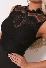 Sharla Black Lace High Neck Bodysuit