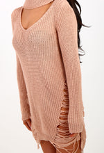 Sweet Sunday Pink Ladder Knit Choker Jumper Dress