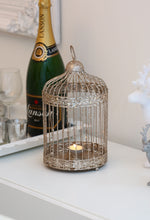 Gold Glitter Birdcage Tea Light Holder