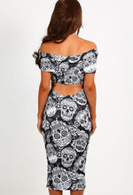 Disturbia Black Skull Cut Out Bardot Dress