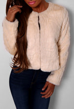 Stolen Nights Cream Cropped Faux Fur Jacket