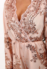 Luxury Gold Dust Blush Sequin Long Sleeved Playsuit