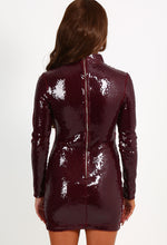 Rachel Burgundy Sequin Long Sleeved Mini Dress
