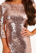 Gianna Rose Gold Sequin Bodycon Mini Dress