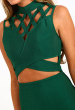 Confident Green Cage Top Cut Out Bandage Mini Dress