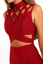 Confident Red Cage Top Cut Out Bandage Mini Dress