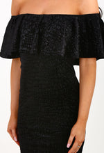 Totally Smitten Black Velvet Snake Bardot Mini Dress