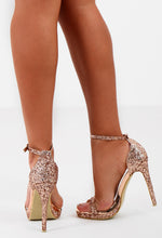 Goldmine Rose Gold Glitter Barely There Heels