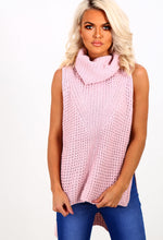 Delaney Pink Knitted Sleeveless Jumper