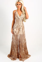 Limited Edition Goddess Gold Sequin Split Maxi Dress