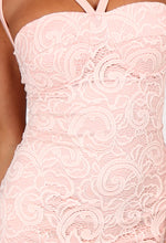 Diana Nude Lace Bustier Strappy Midi Dress