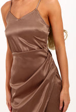 Play The Fool Bronze Asymmetric Satin Midi Dress