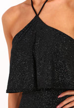 Shimmy Shake Black Glitter Halterneck Mini Dress