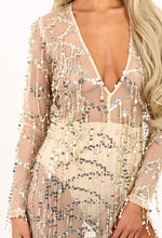 Caught In A Tassel Gold Sequin Tassel Sheer Maxi Dress