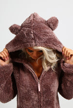 Cozy Taupe Fleece Hooded Ear Onesie