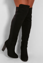 Karolina Black Suedette Over The Knee Heeled Boots