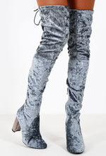 Fortune Grey Crushed Velvet Over The Knee Boots