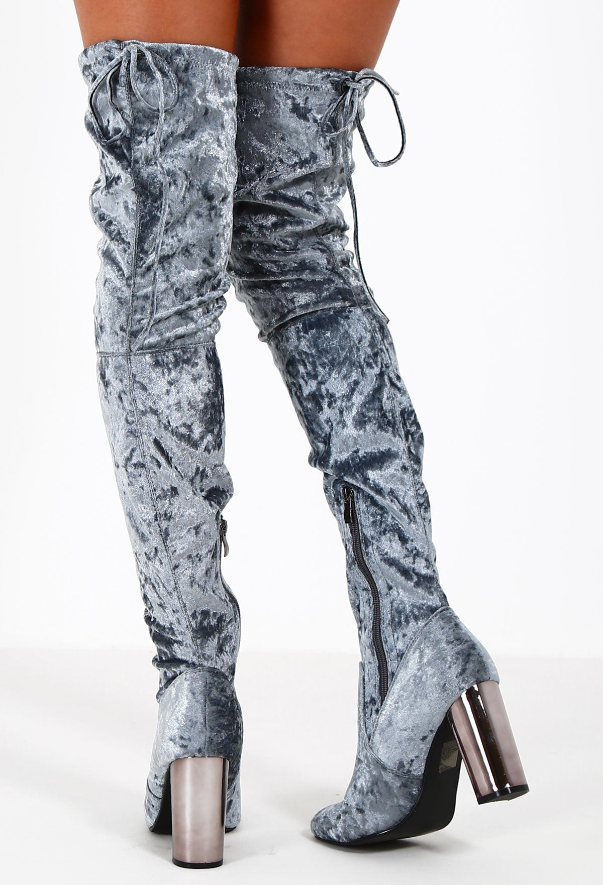 6e16eeb6fe6 Fortune Grey Crushed Velvet Over The Knee Boots – Pink Boutique UK