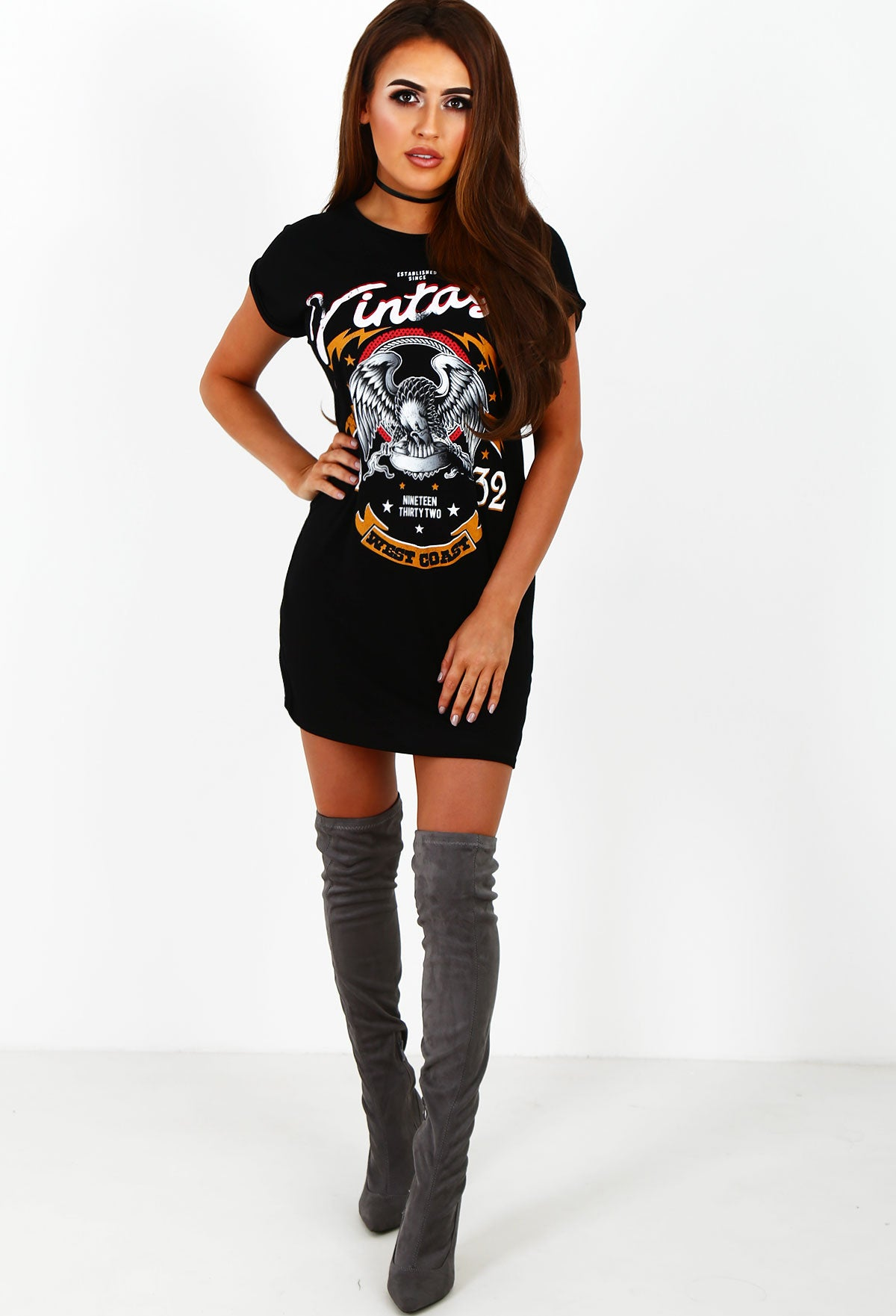 8716c8505226 Glam Rock Black Vintage T Shirt Dress – Pink Boutique UK