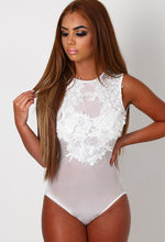 Faith White Mesh Applique Bodysuit