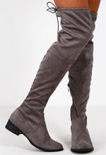 Step Up Grey Flat Over The Knee Boots