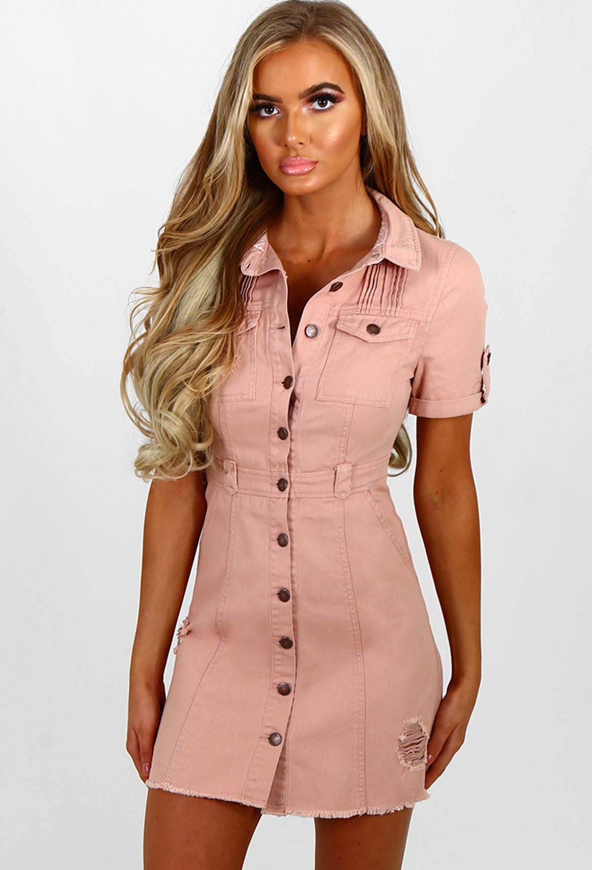 f0cffca119 Push My Buttons Pink Button Front Denim Mini Dress – Pink Boutique UK
