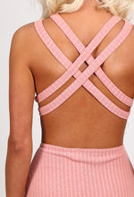 June Pink Ribbed Cross Back Midi Dress