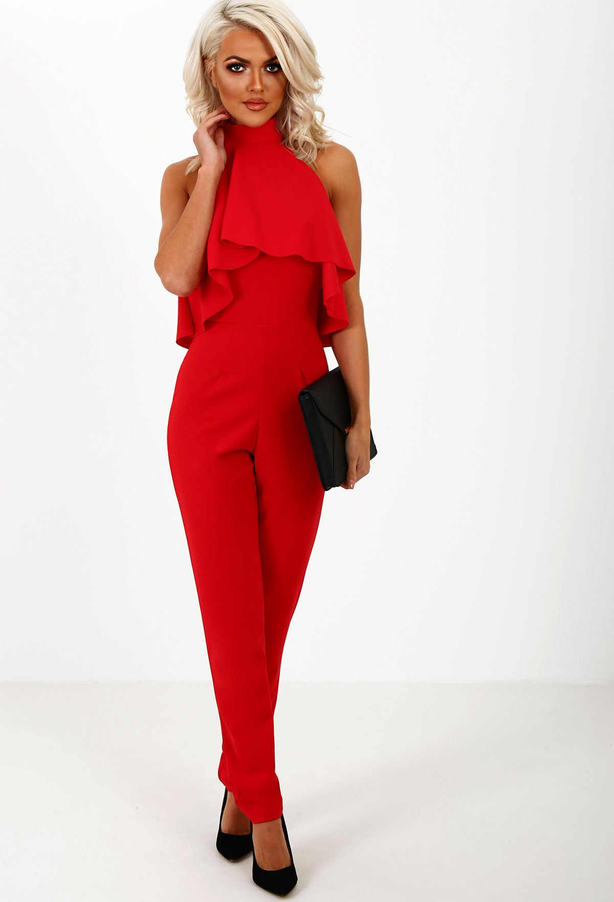 5aeecd263b Jump To It Red Frill Halterneck Jumpsuit – Pink Boutique UK