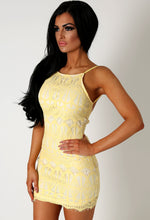 Azelia Yellow Lace Backless Dress