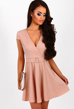 Delicate Dreams Nude Cap Sleeve Belted Skater Dress
