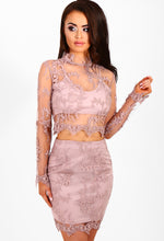 Dripping In Luxury Mauve Lace Long Sleeve Crop Top