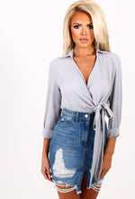Hanky Panky Grey Tie Up Wrap Front Top