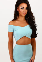 Deviant Duck Egg Blue Crossover Slinky Bardot Crop Top
