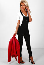 Frisky Friday Black Distressed Denim Dungarees