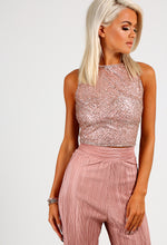 Roseanne Rose Gold Glitter Crop Top