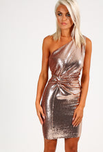 Aurelia Rose Gold One Shoulder Sequin Mini Dress