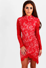 Wild Roses Red Lace Long Sleeve Mini Dress