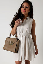 Albina Cream Sleeveless Shirt Dress