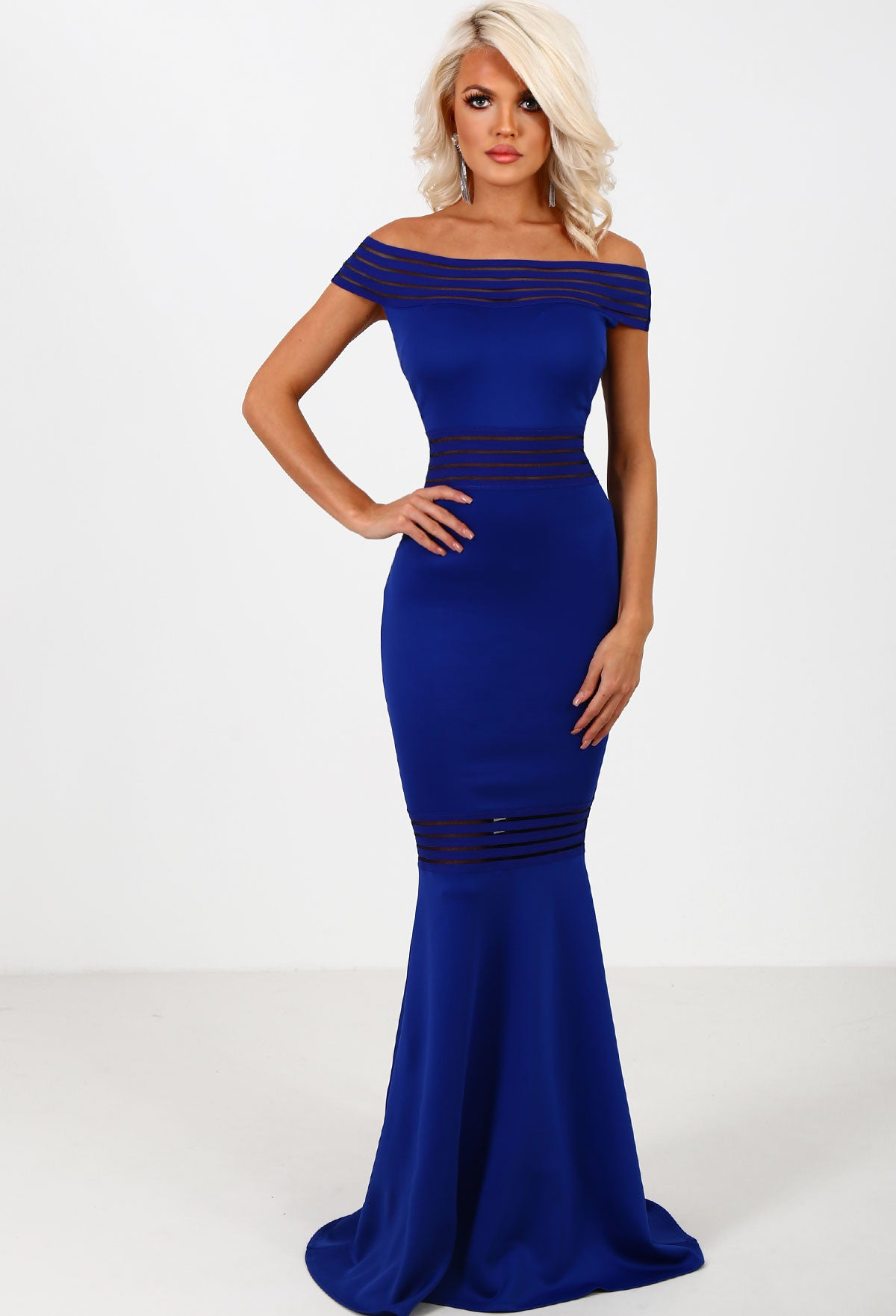 5079434b7f2f Blair Royal Blue Bardot Fishtail Maxi Dress – Pink Boutique UK