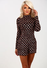 Diamonds Are Forever Black And Rose Gold Sequin Playsuit