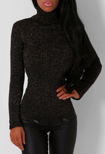 Frances Black and Silver Glitter Roll Neck Jumper