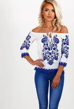 Refresh Me White And Blue Embroidered Bardot Top