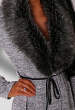 Dell Light Grey Faux Fur Collar Maxi Cardigan