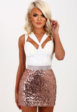Love Liberty Rose Gold Sequin Mini Skirt