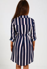 Chalina Navy Multi Stripe Shirt Dress